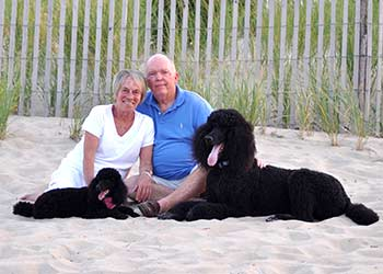 Jean & Dave Waters with their kids Roxie & Kramer at Rehoboth Beach, Delaware